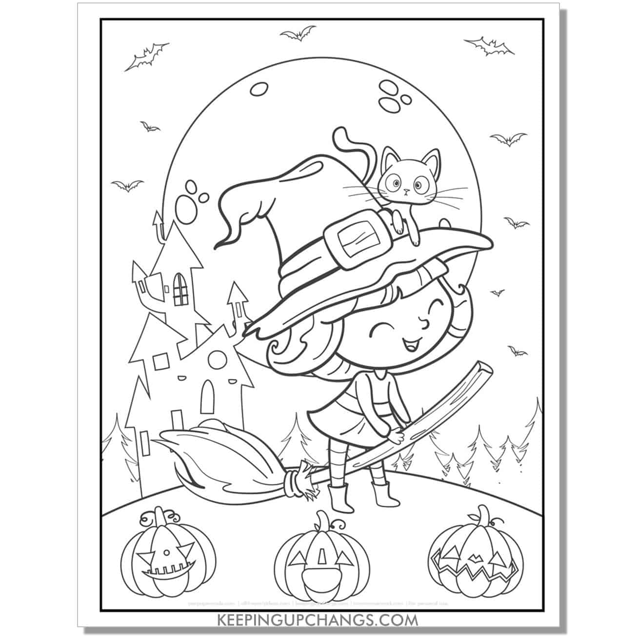 free cute witch full size coloring page for kids with jack o lantern and cat.