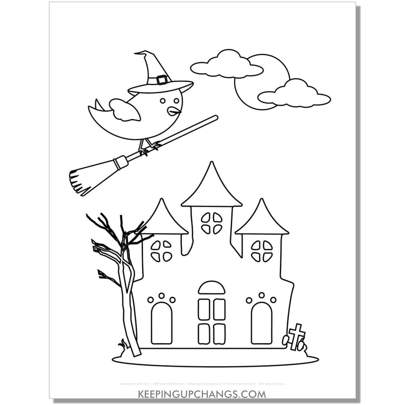 free haunted house with bird in witch hat and broom coloring page.