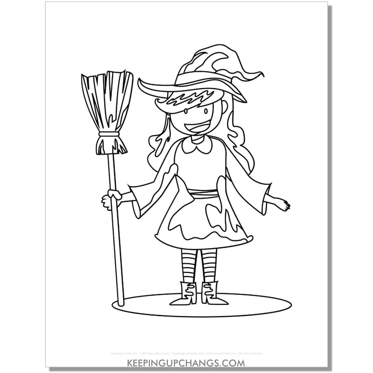 free cute witch holding broomstick coloring page.