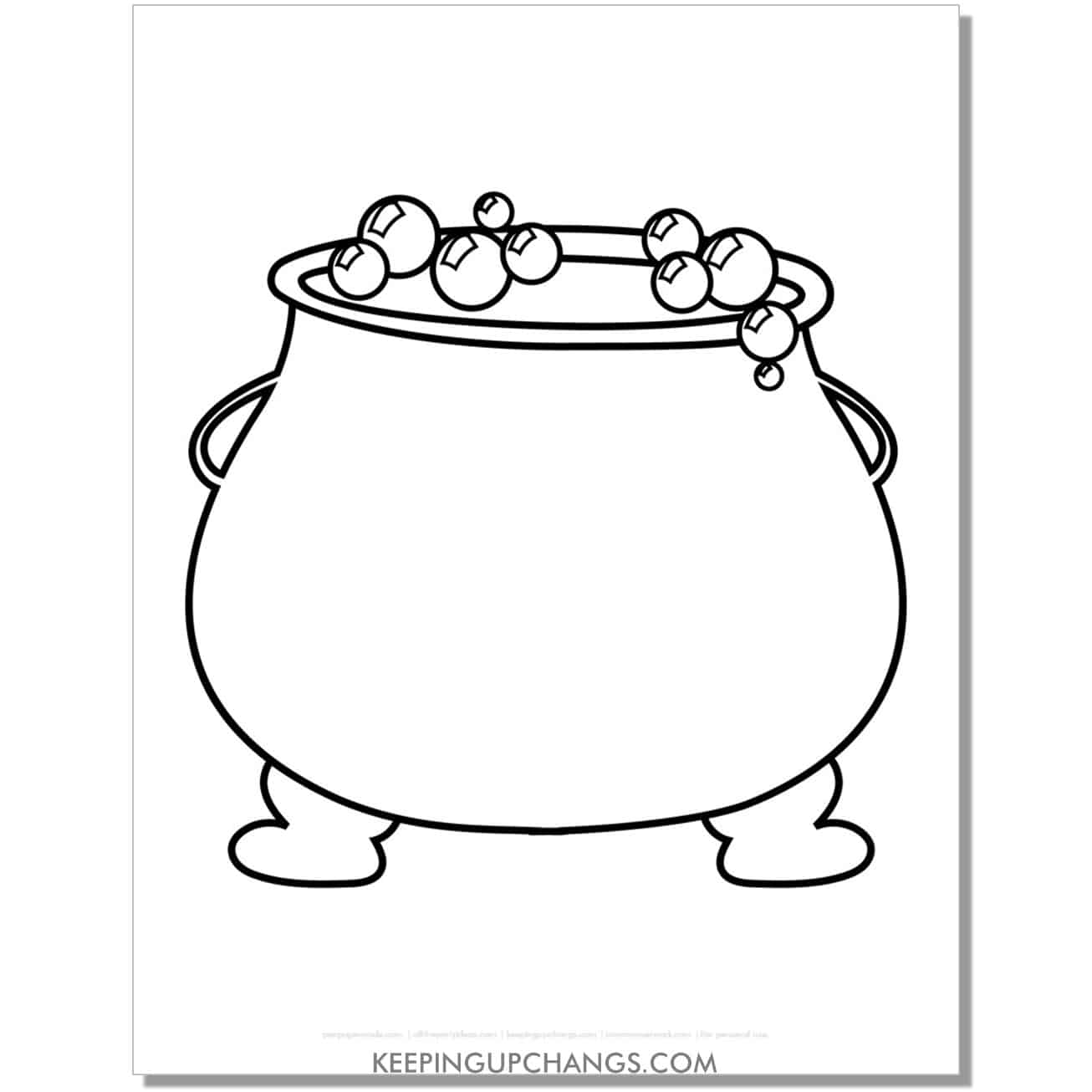 free witch cauldron halloween coloring page for toddlers.