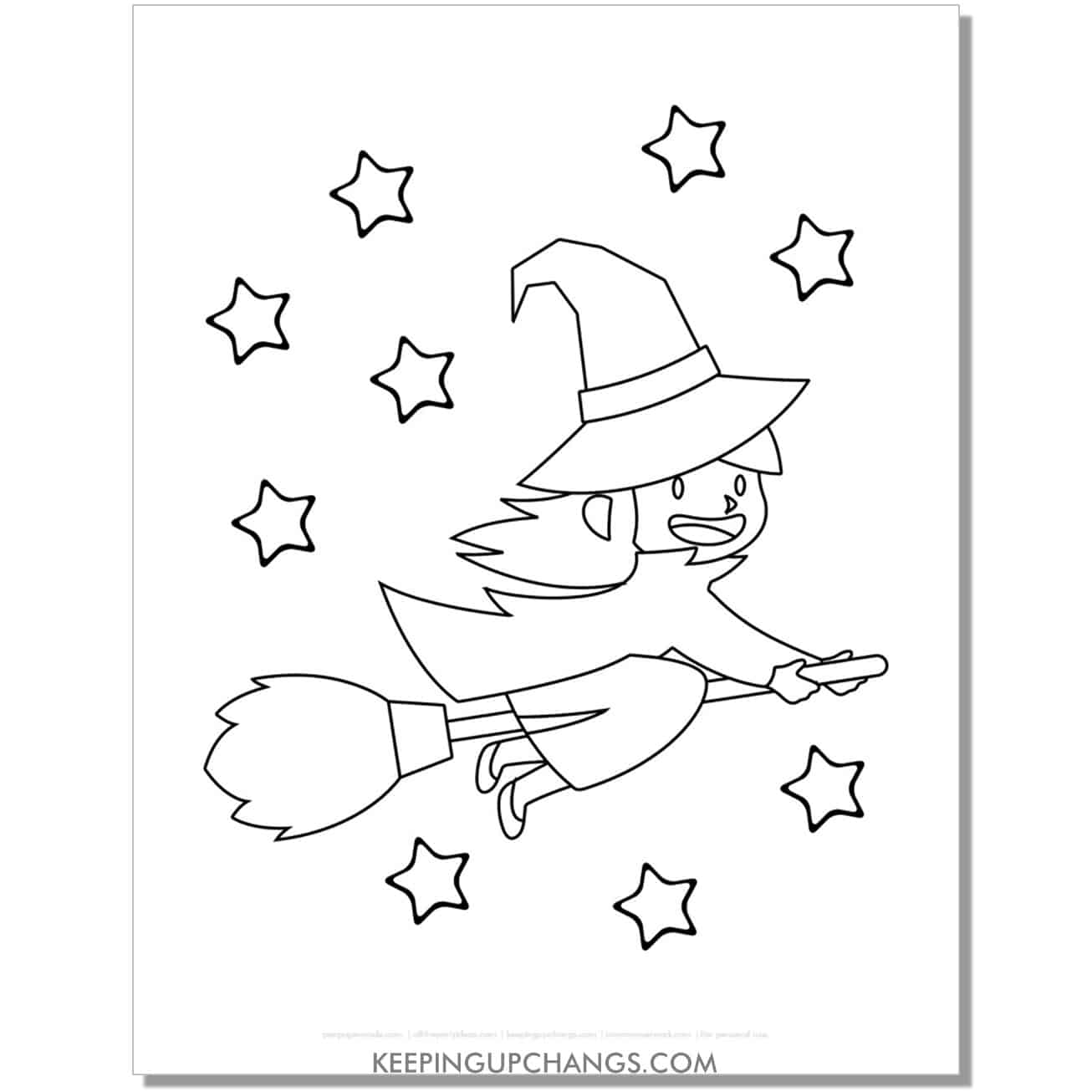 free simple anime flying witch coloring page.