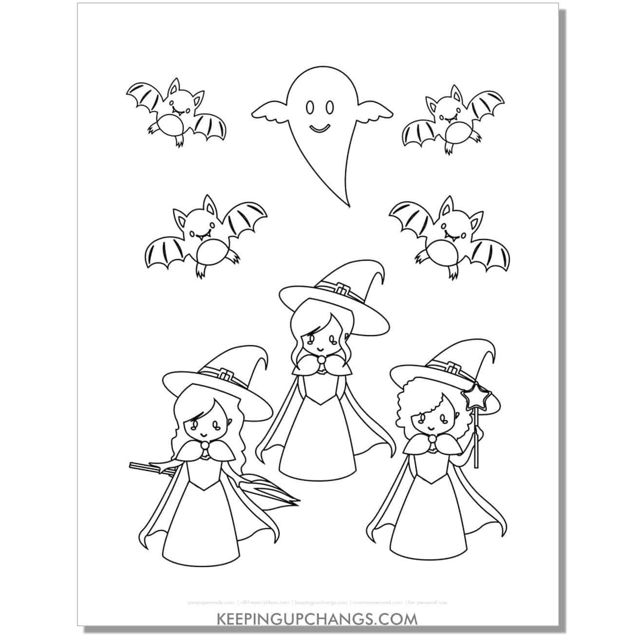 free cute girl witches, bats, ghosts coloring page.