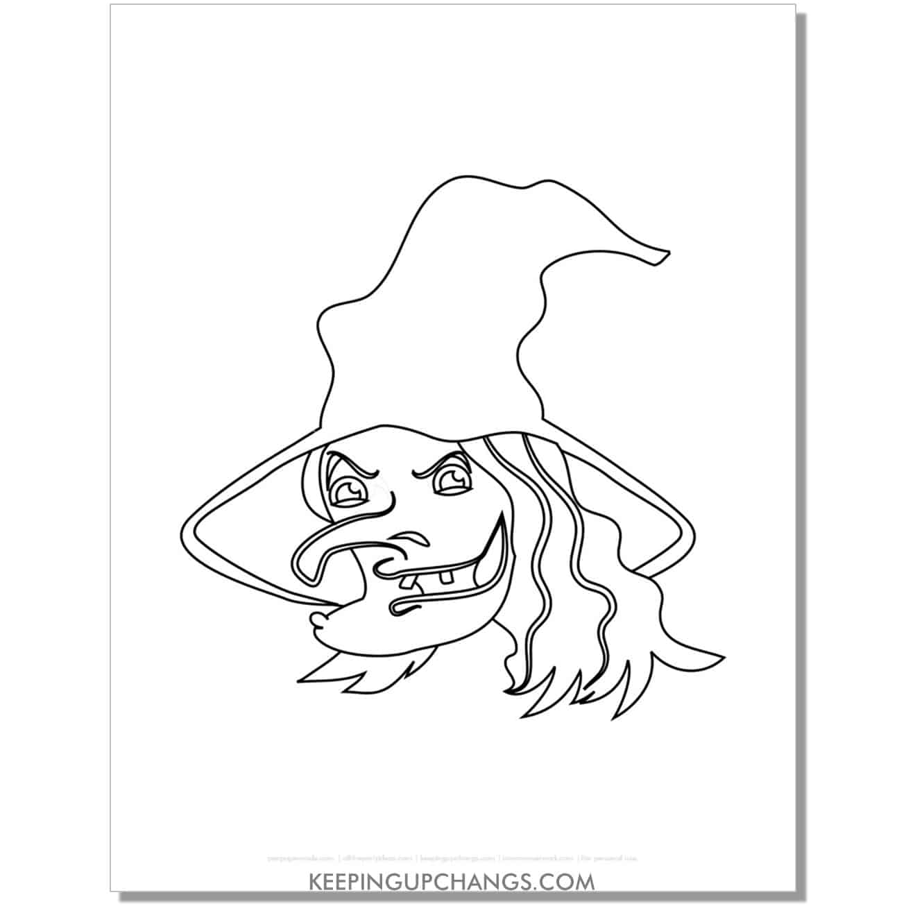 free scary witch face with warts coloring page.