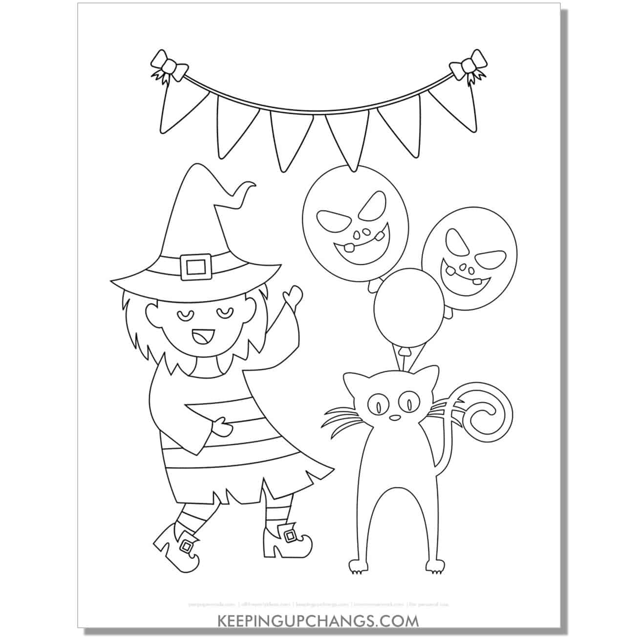 free young witch dancing with black cat and balloons coloring page.