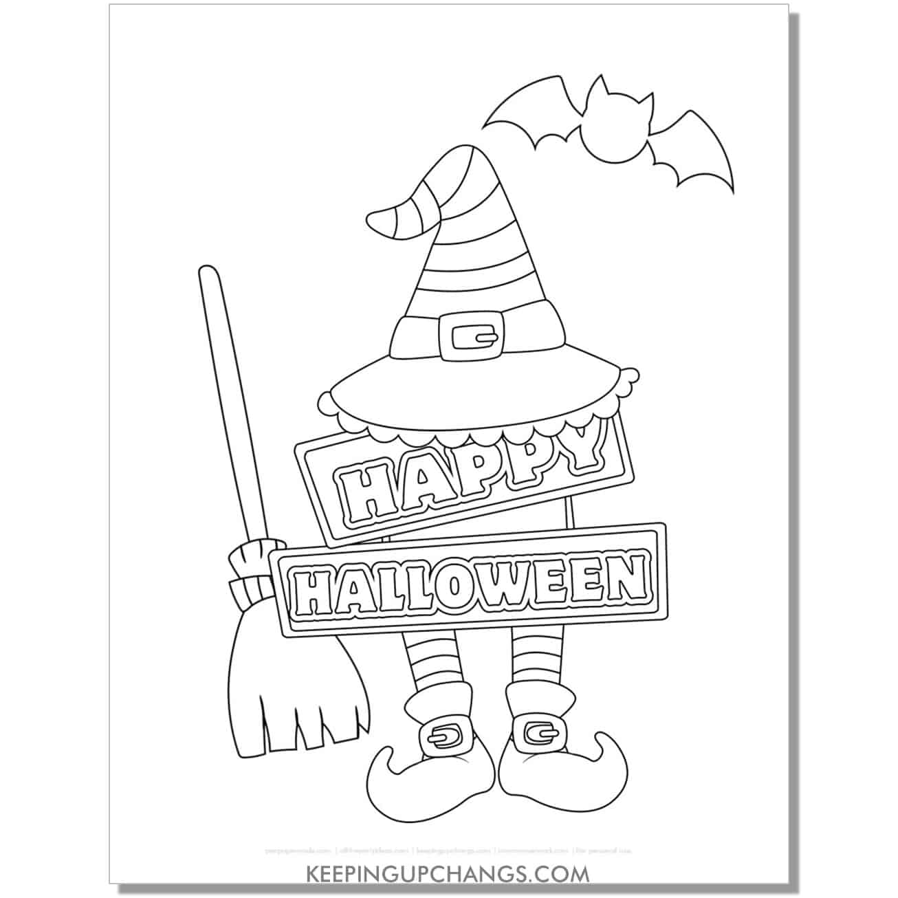 free happy halloween witch accessories coloring page.