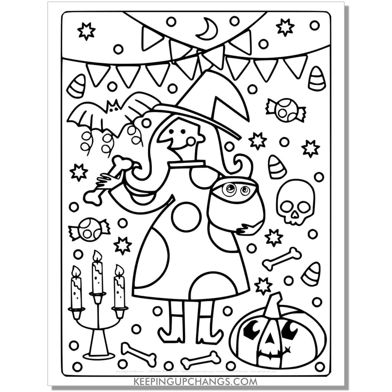 free funny witch party full size coloring page.