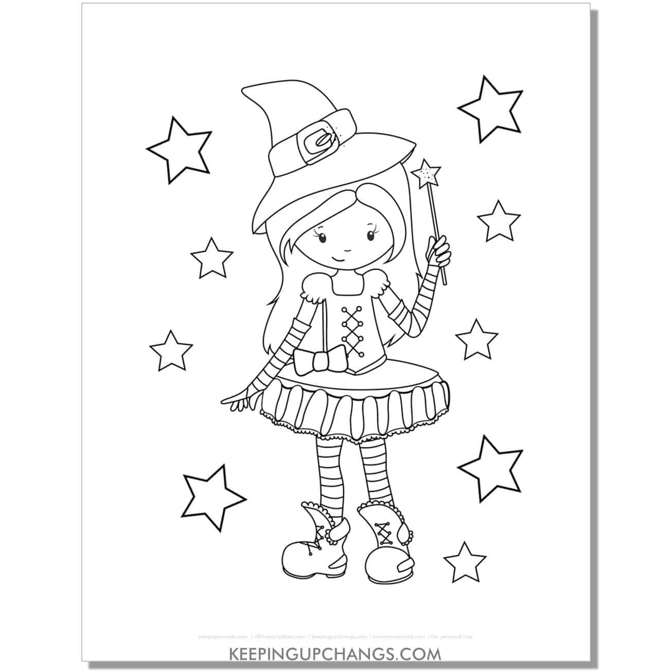 free kid witch girl with want coloring page.