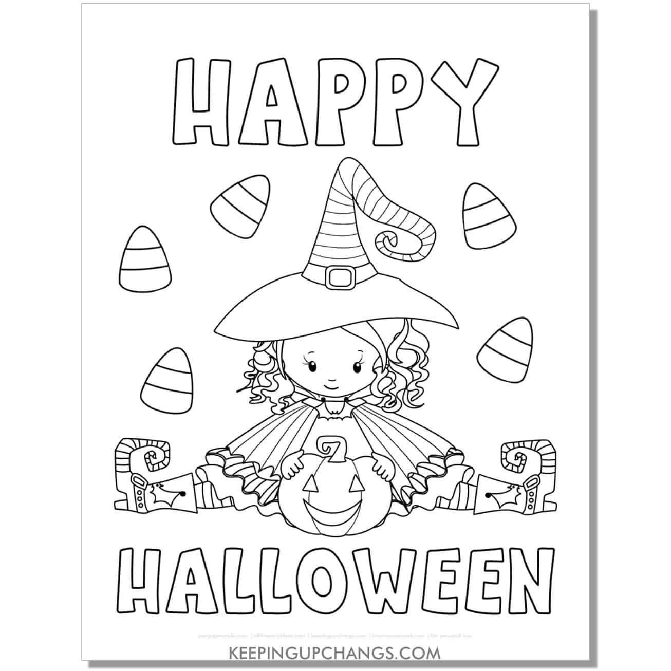 free happy halloween girl witch with jack o lantern coloring page.