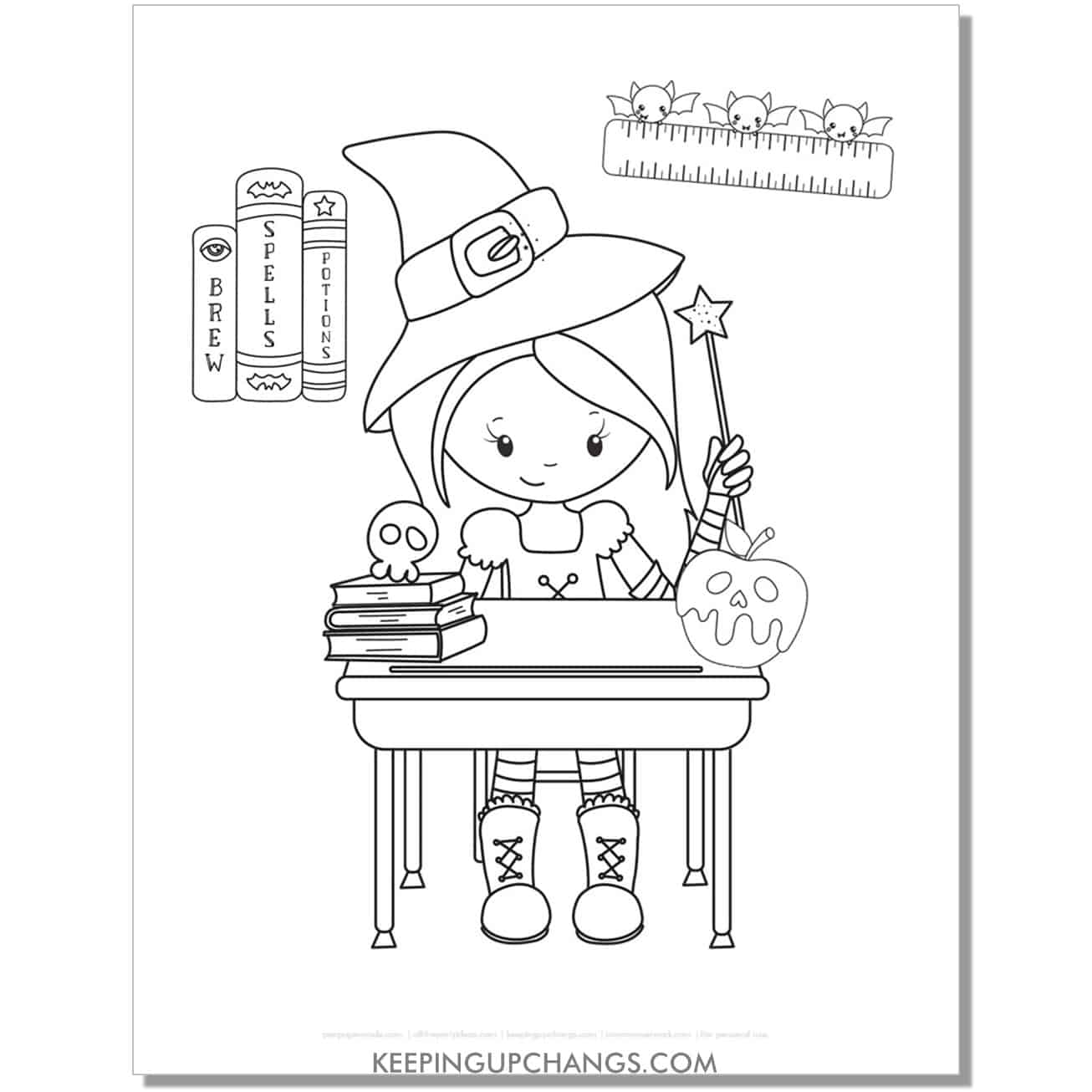 free cute witch school girl coloring page.