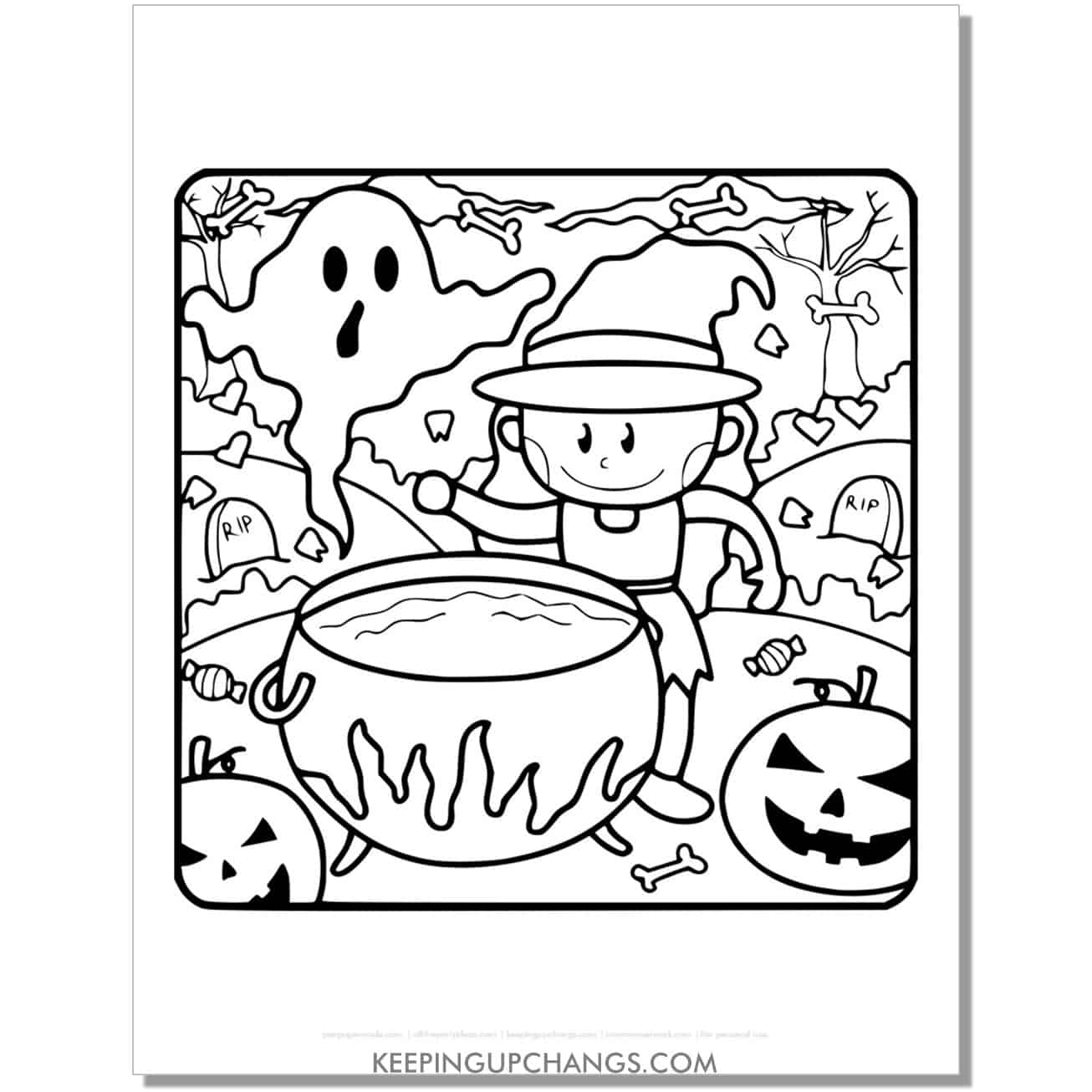 free cute witch girl brewing cauldron coloring page.