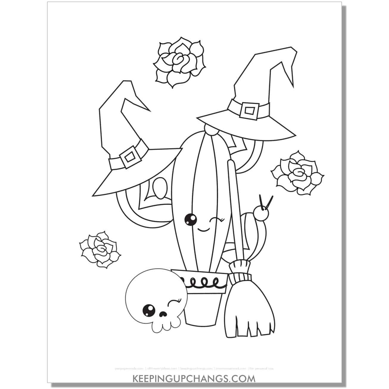 free cactus witch coloring page.