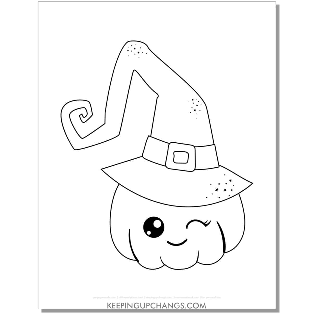 free cute pumpkin witch coloring page.