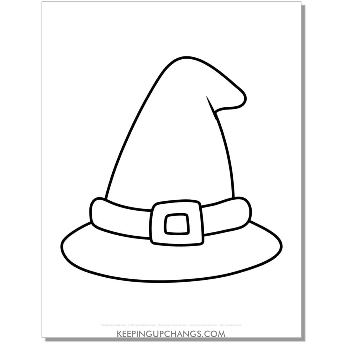 free witch hat halloween coloring page for toddlers.