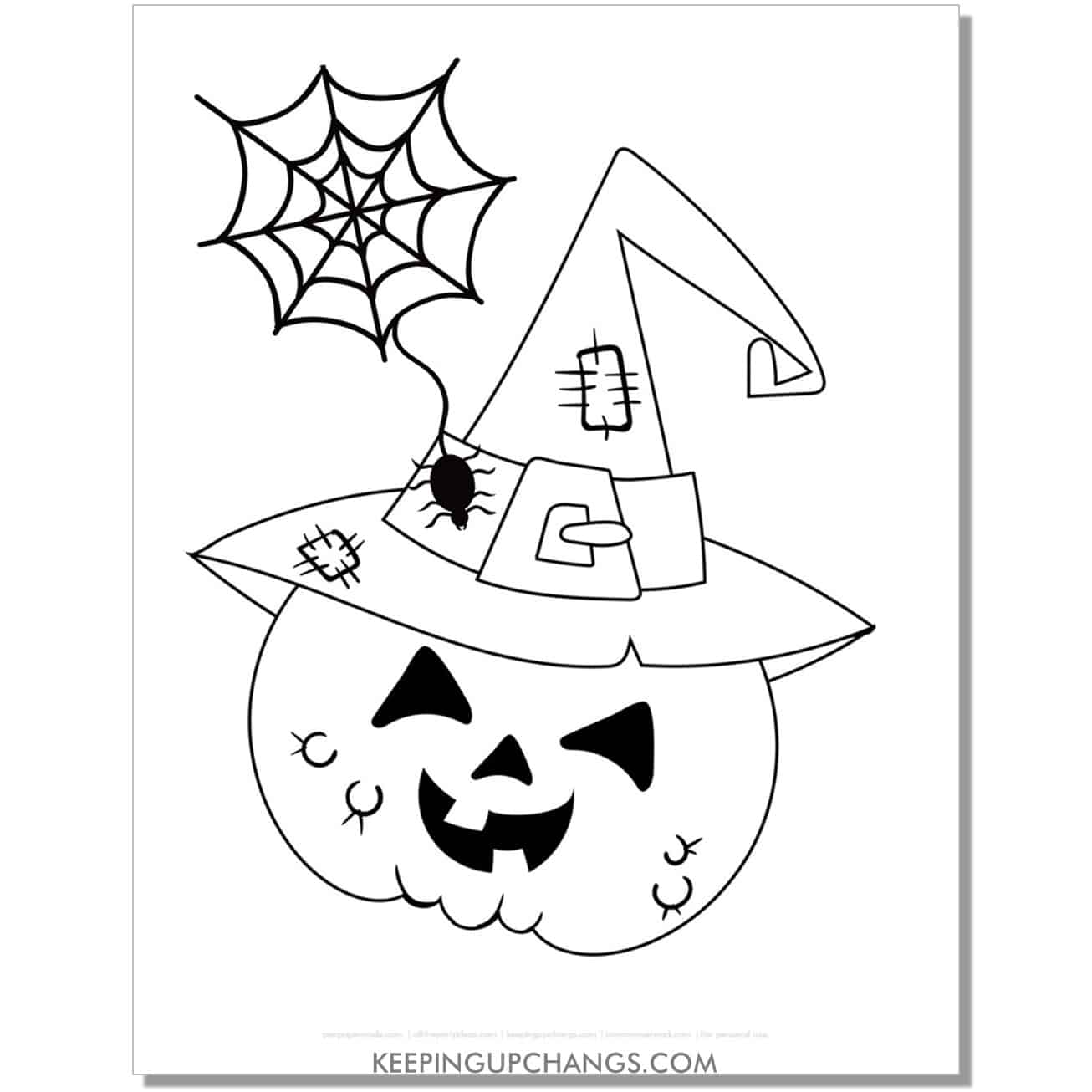 free halloween scarecrow witch jack o lantern coloring page.