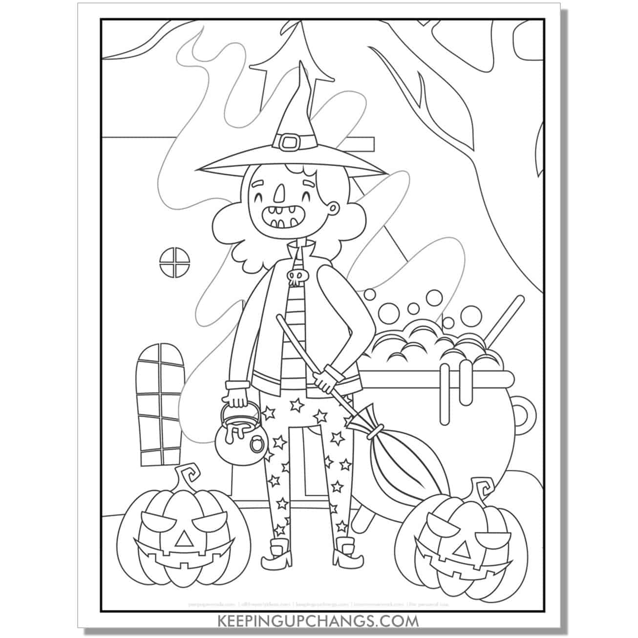 free old witch with jack o lanterns coloring page.
