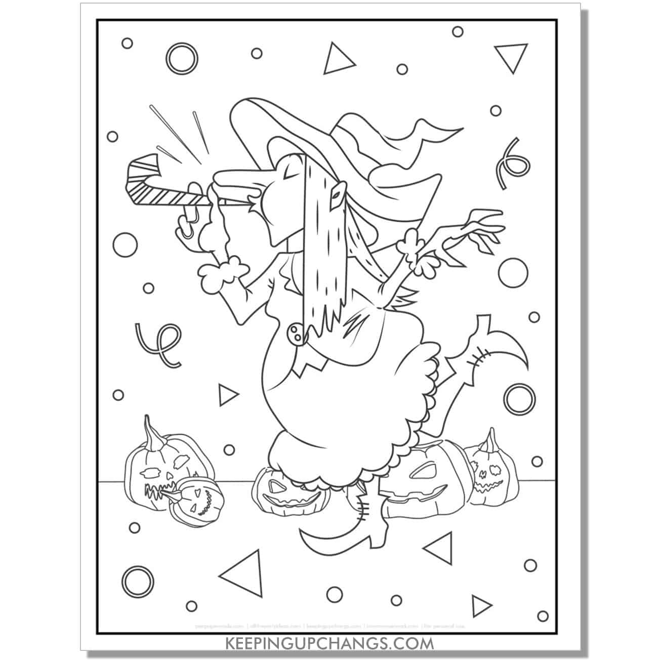 free ugly witch and jack o lantern having party coloring page.