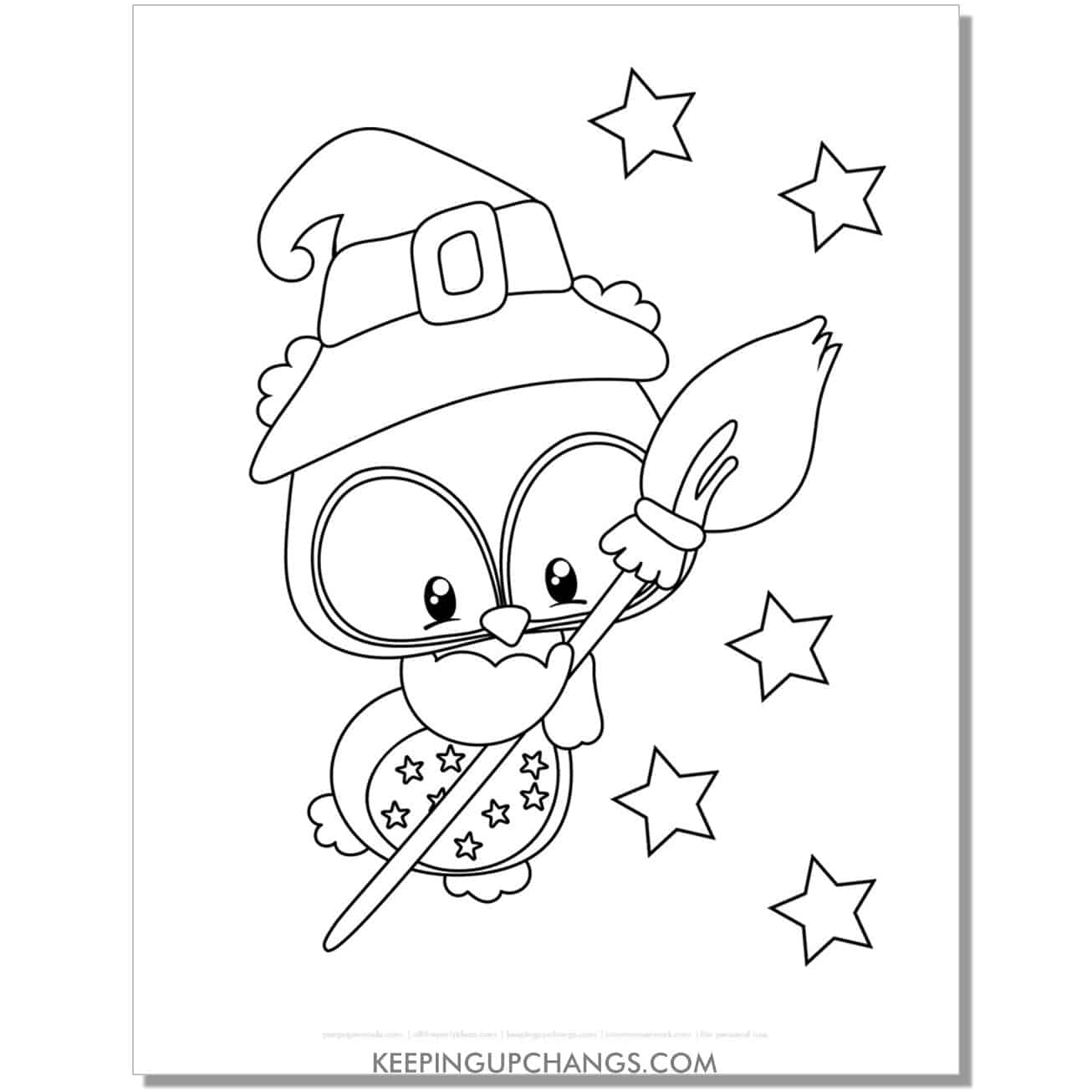 free owl witch coloring page with stars.