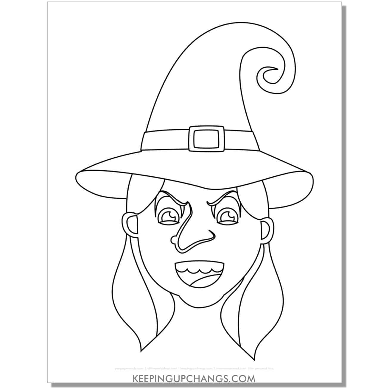 free scary witch face with pigtails coloring page.