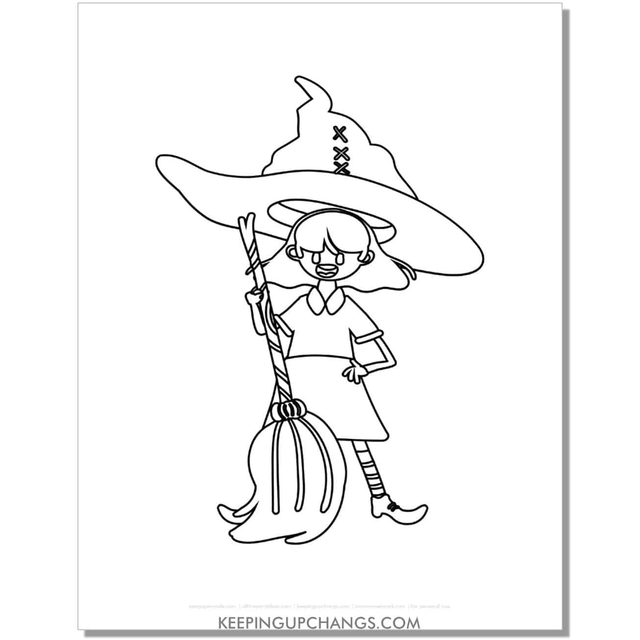 free silly witch with broomstick coloring page.