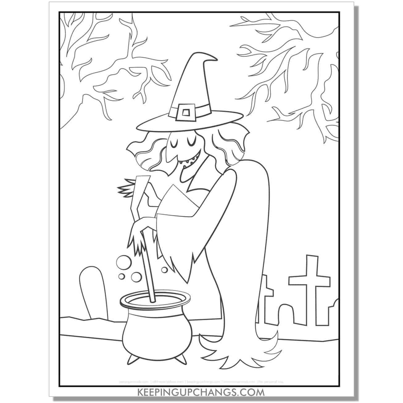 free old witch full size coloring page.