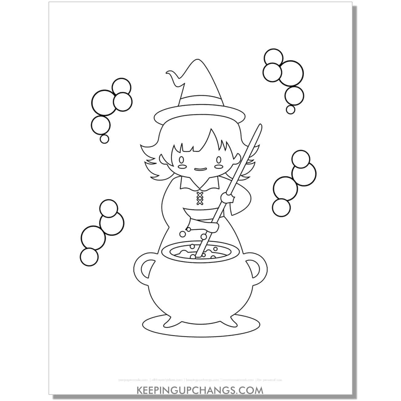 free cute witch cauldron bubbles coloring page.