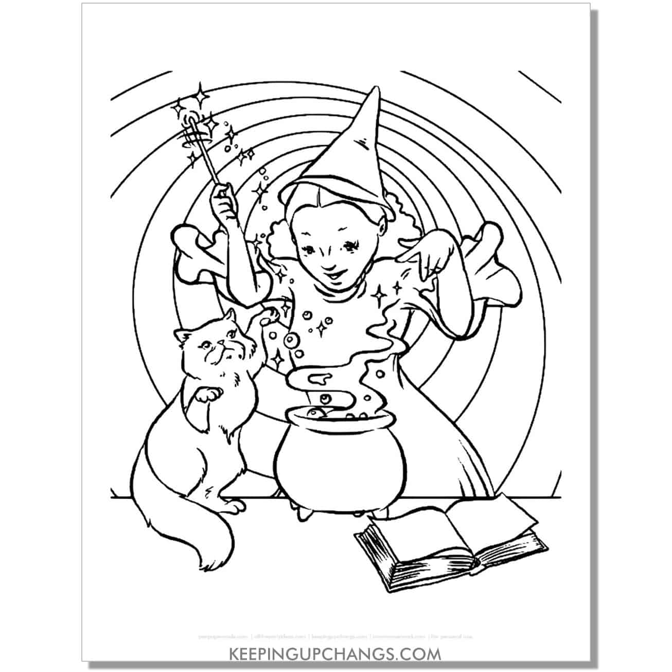 free vintage girl witch with cat making magic coloring page.