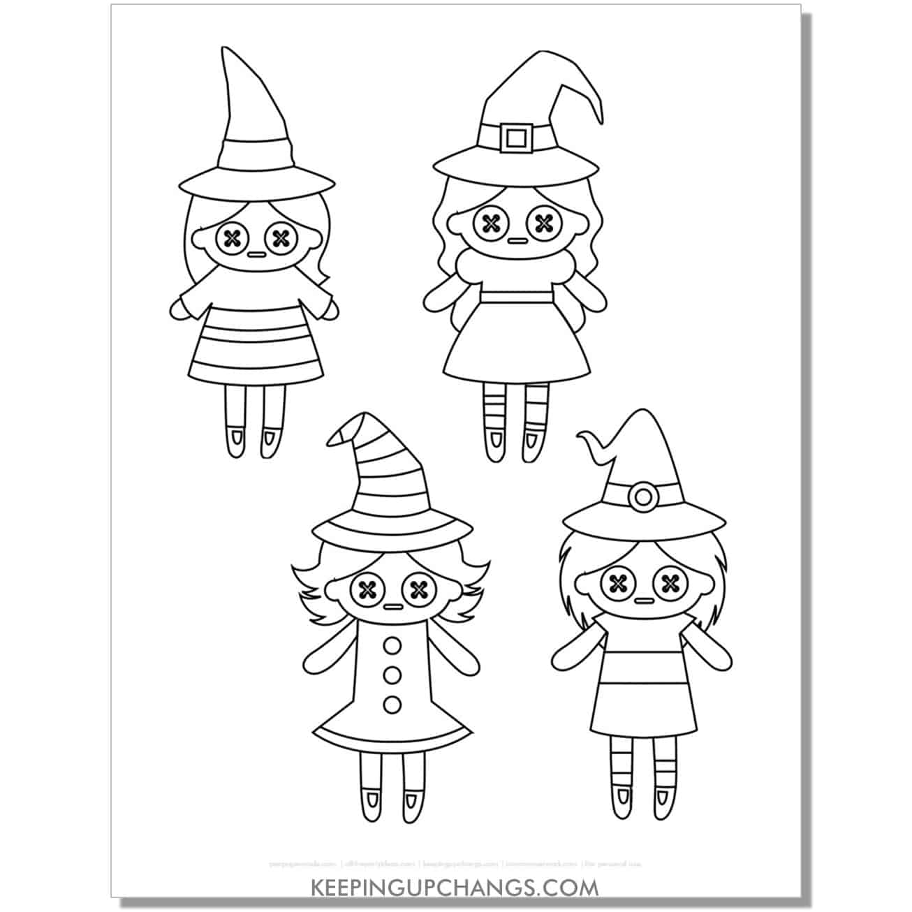free voodoo doll witch coloring page.