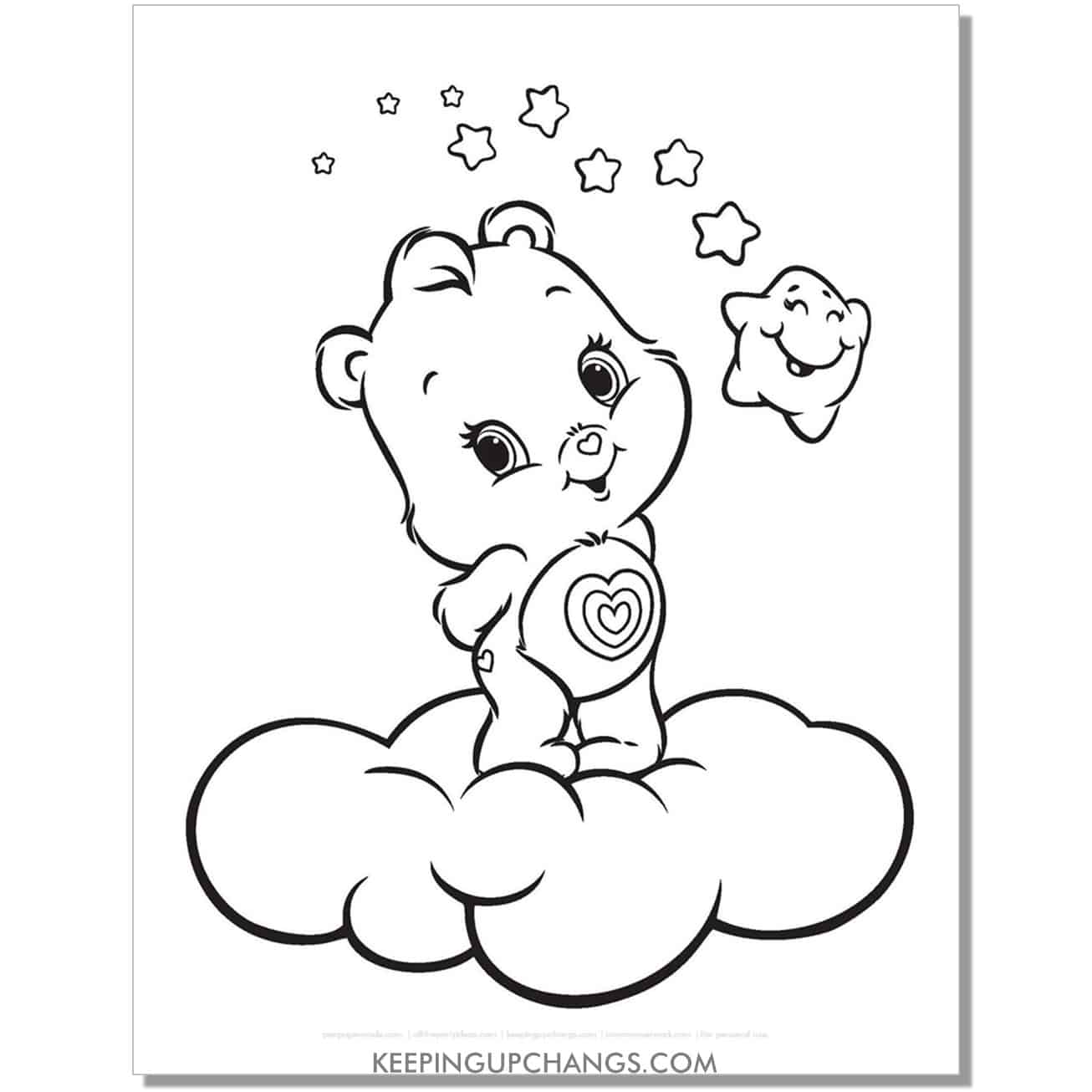 wonderheart care bear standing on cloud coloring page.