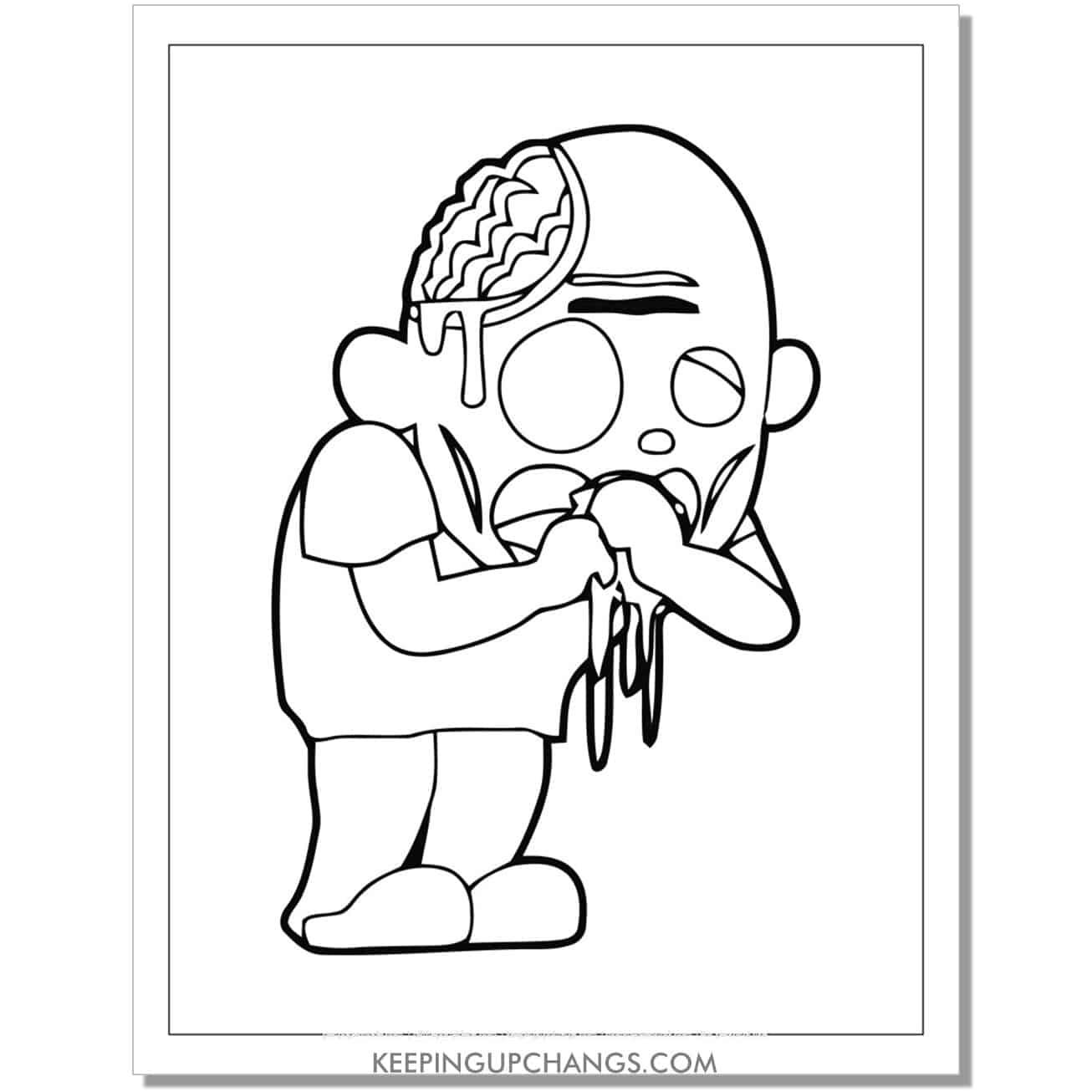 free zombie man puking guts coloring page.