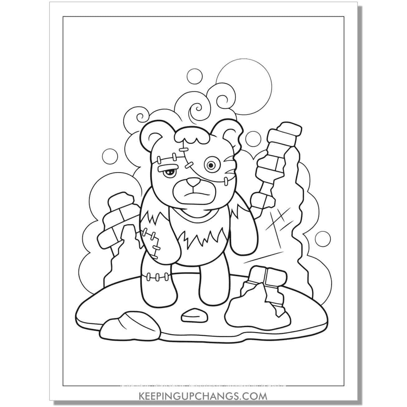free zombie teddy bear coloring page.