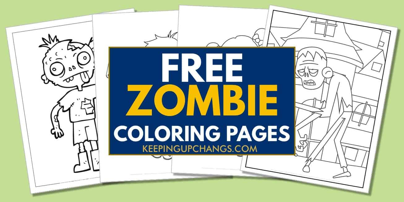 spread of free zombie coloring pages.