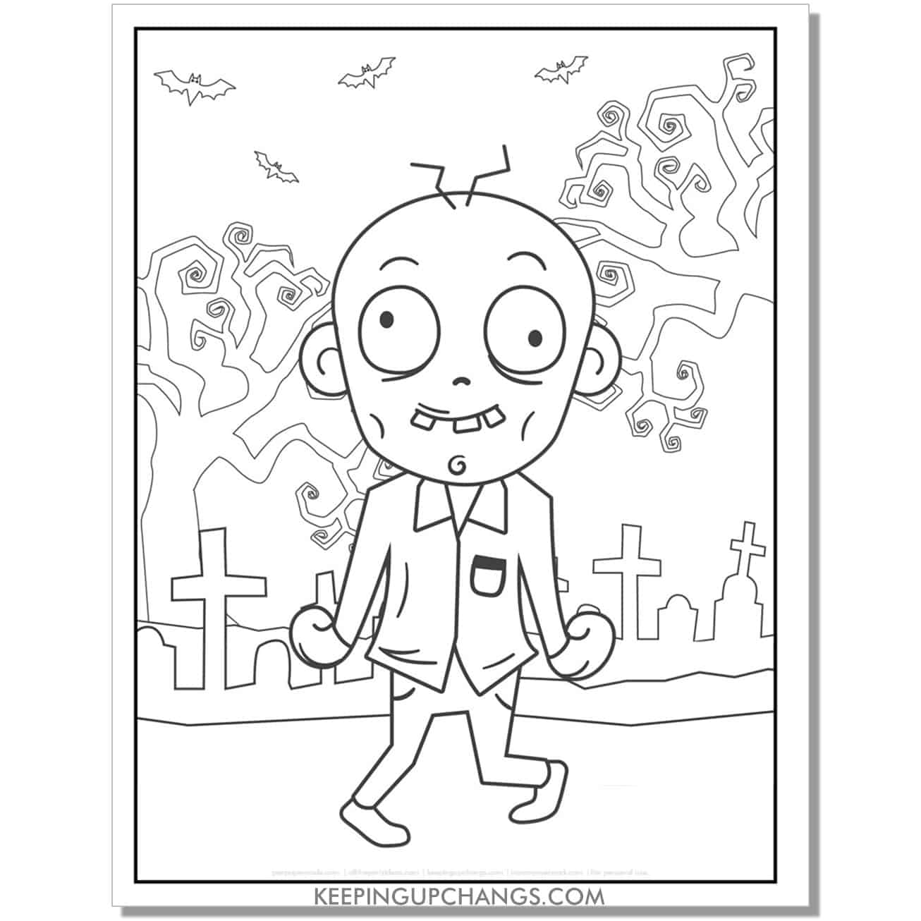 free silly zombie man coloring page.