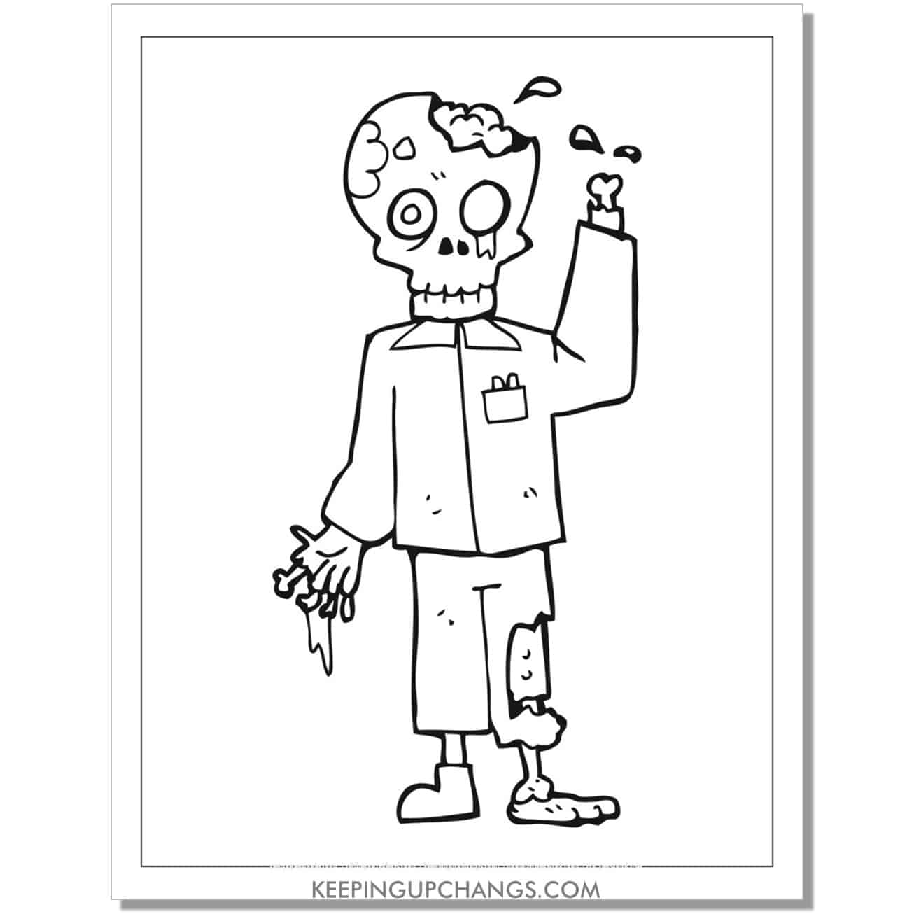 free zombie skeleton bones coloring page.
