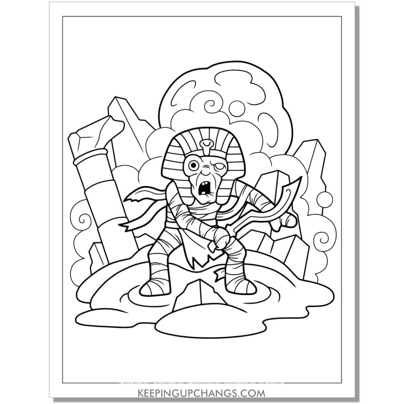 free zombie egyptian pharaoh coloring page.