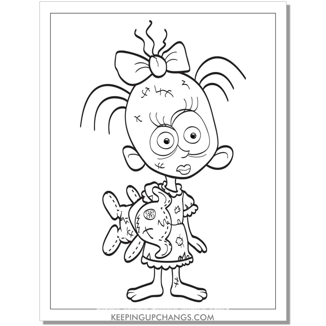 free not cute zombie girl coloring page.