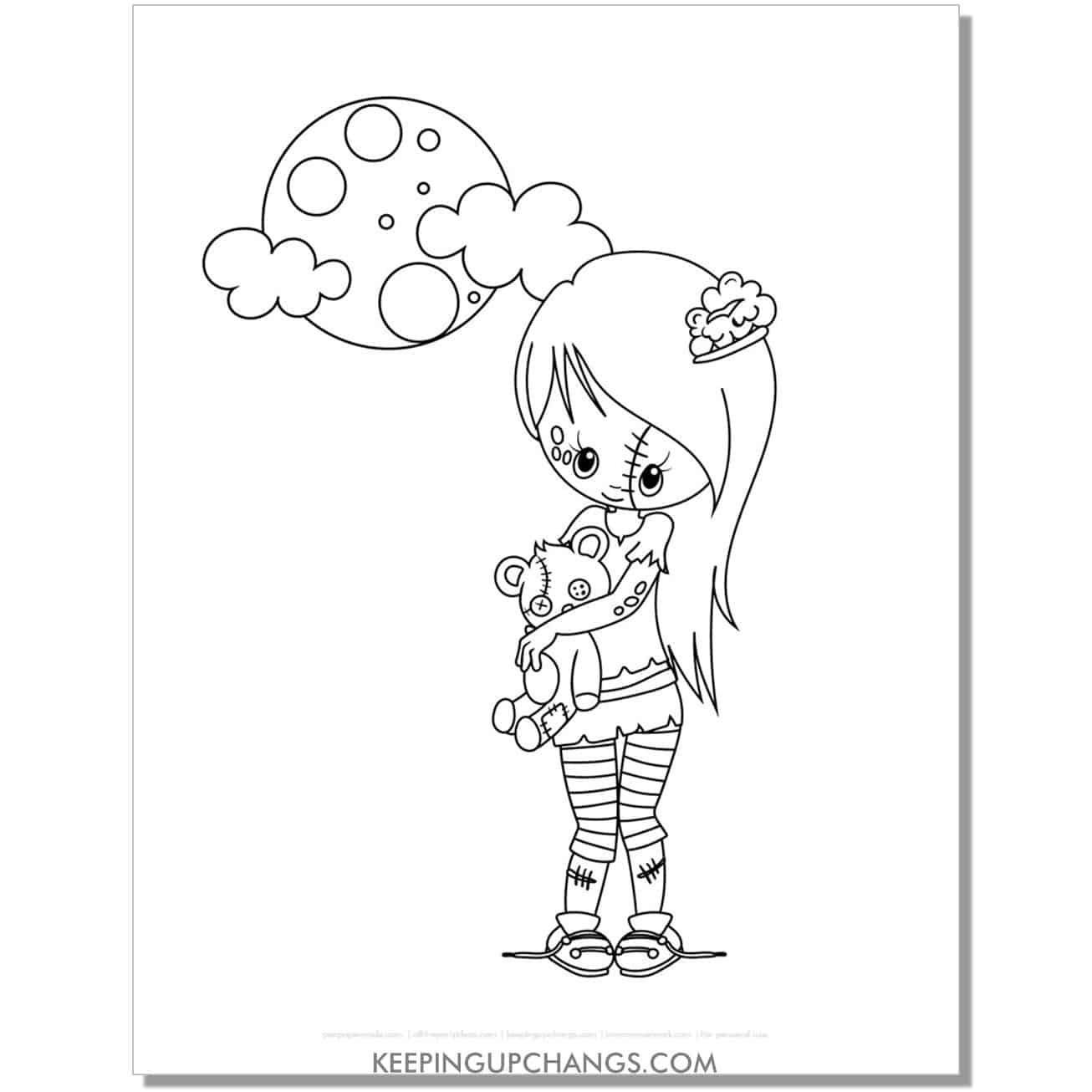free cute zombie girl with teddy halloween coloring page.