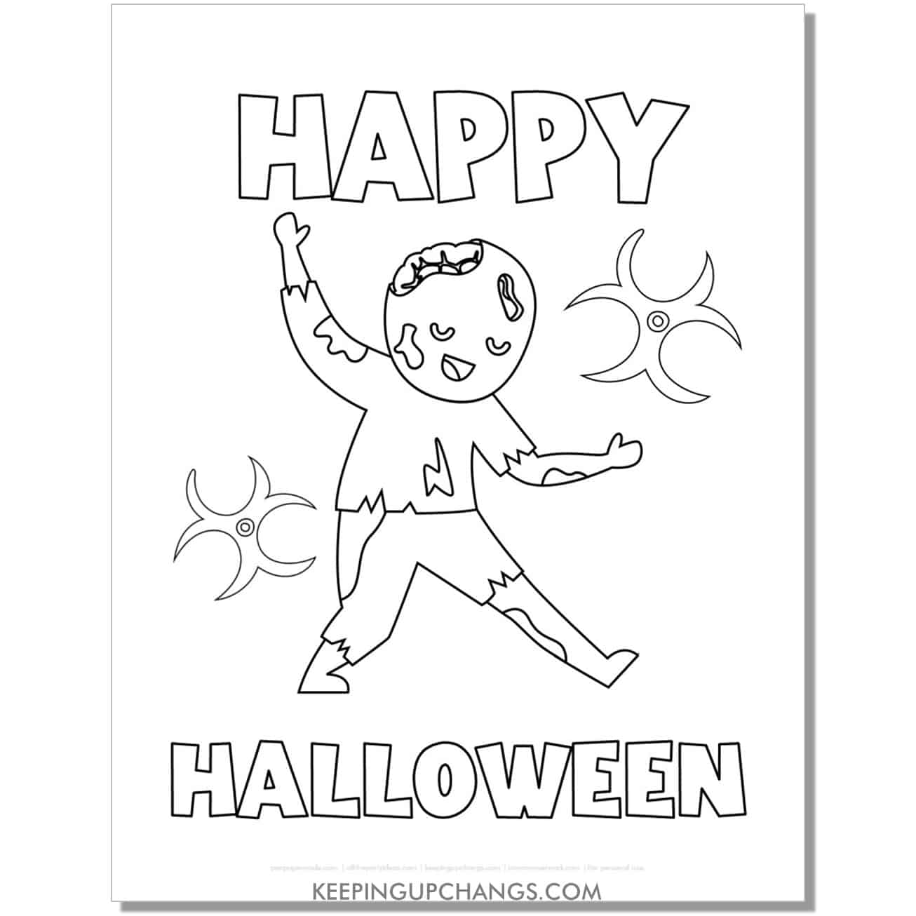 free zombie boy happy halloween coloring page.