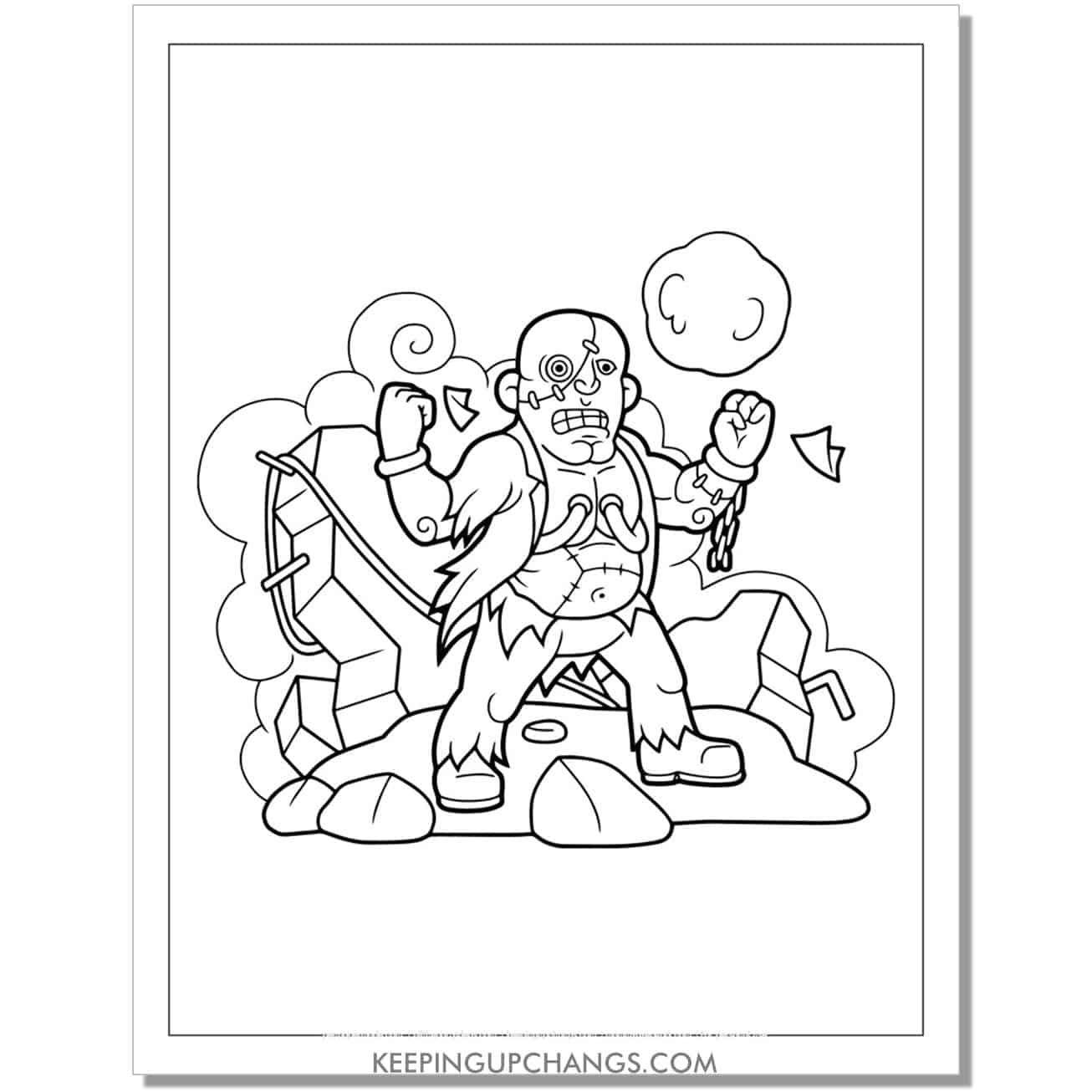 free zombie man bald coloring page.