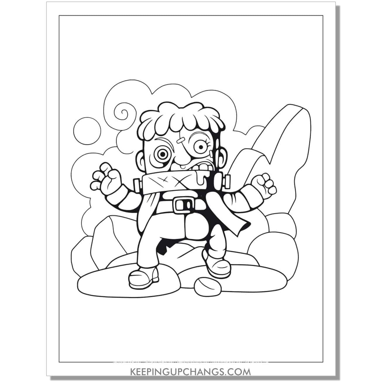 free zombie creature short coloring page.