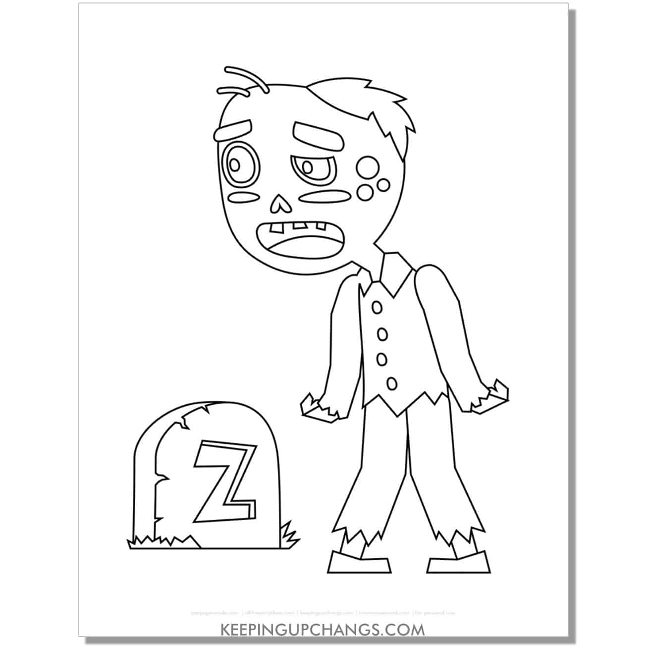 free zombie man with tombstone simple coloring page.