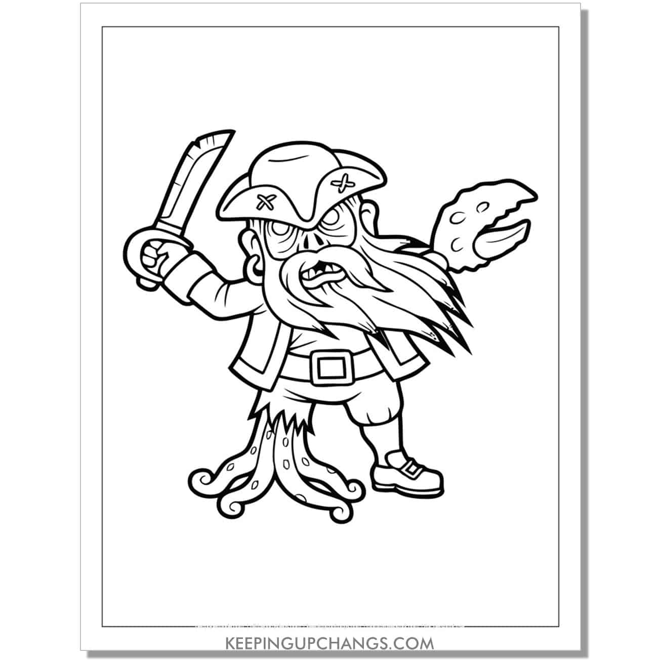 free zombie pirate davy jones coloring page.