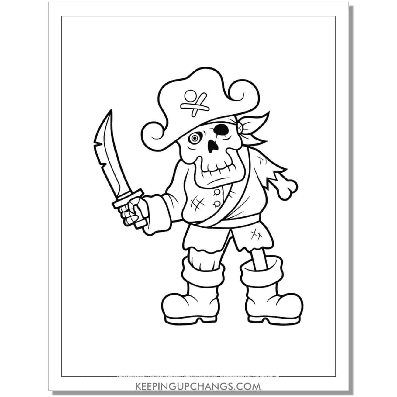 free zombie pirate skeleton coloring page.