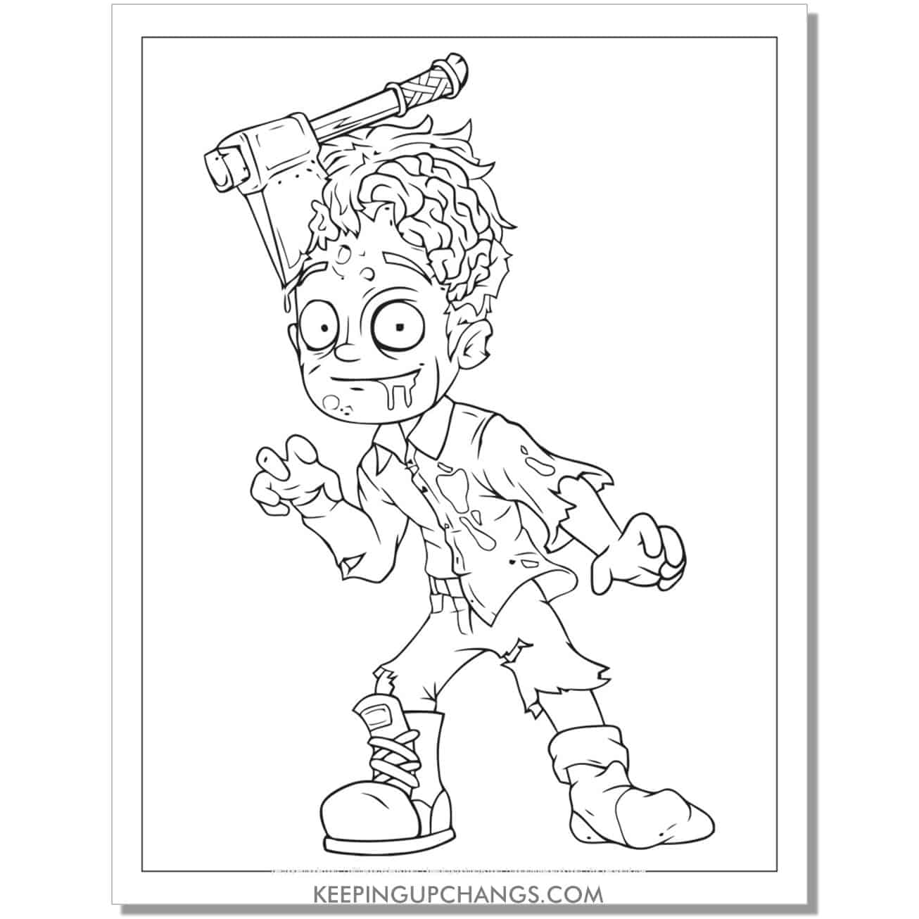 free zombie man hatchet in head coloring page.