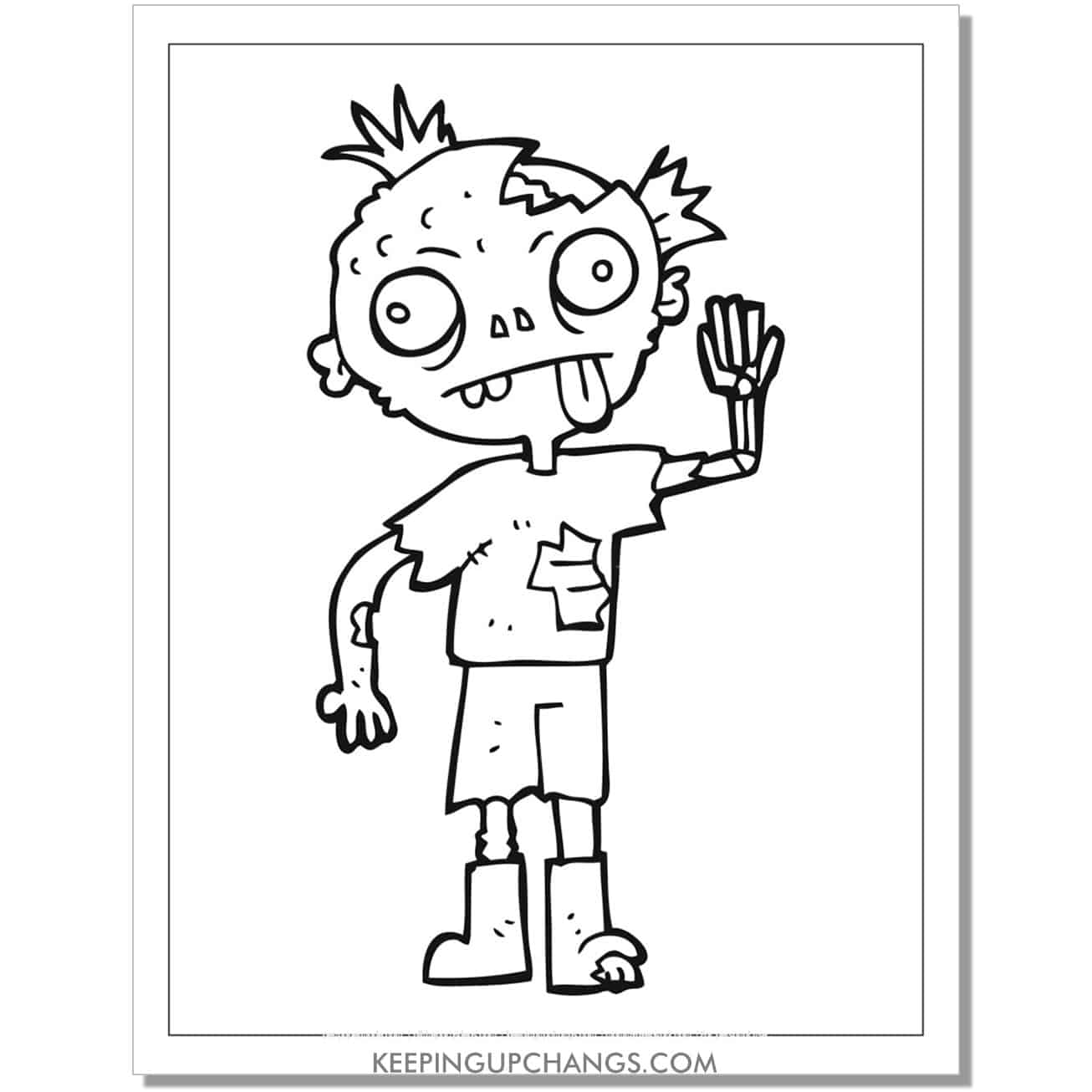 free ugly, gross zombie coloring page.