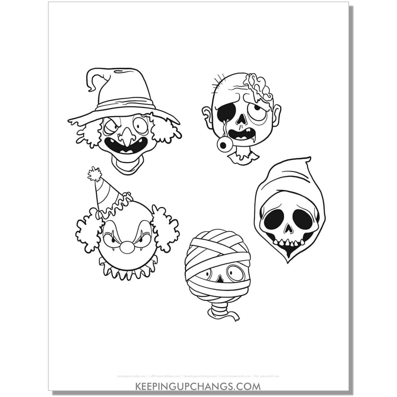 free scary witch, clown, zombie, reaper, mummy face coloring page.