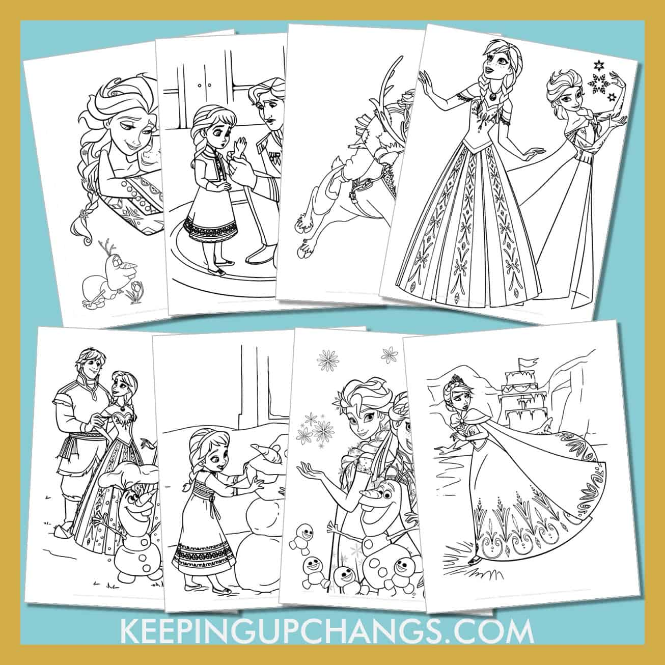 frozen colouring sheets including cute disney princess ice queen elsa, anna, kristoff, olaf, sven and more.