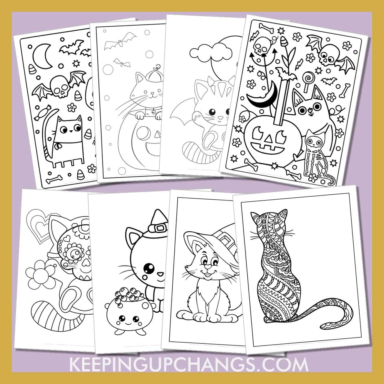 halloween cat colouring sheets including easy, cute, adorable and scary worksheets for kids and adults.