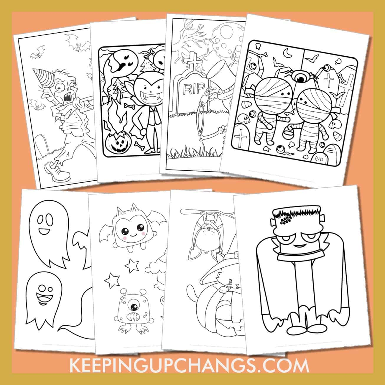 halloween colouring sheets including ghost, bat, witch, cat, spider, haunted house, frankenstein, monster, happy halloween and more.