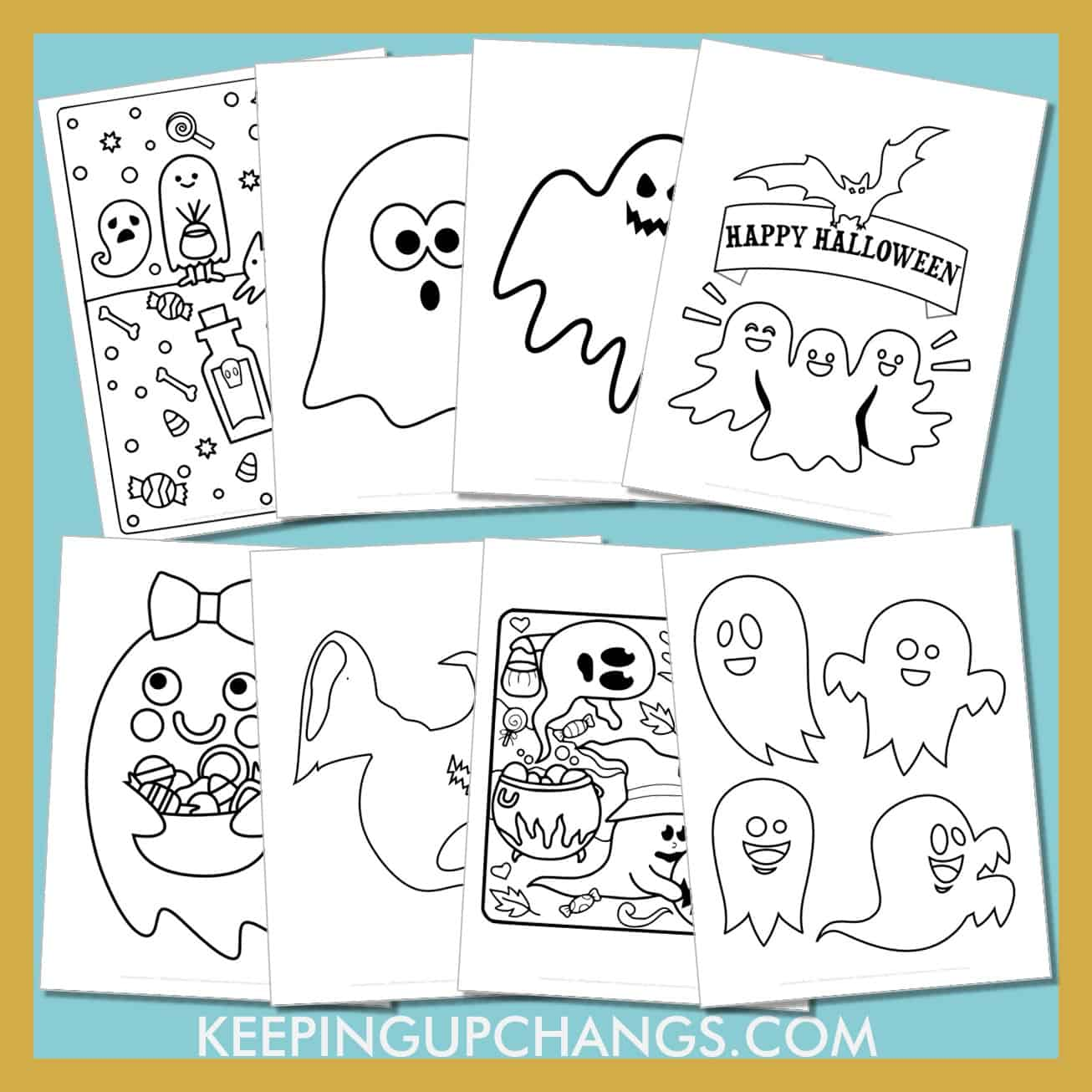 halloween ghost colouring sheets including cute cut out template for toddlers, preschool, happy halloween and more.