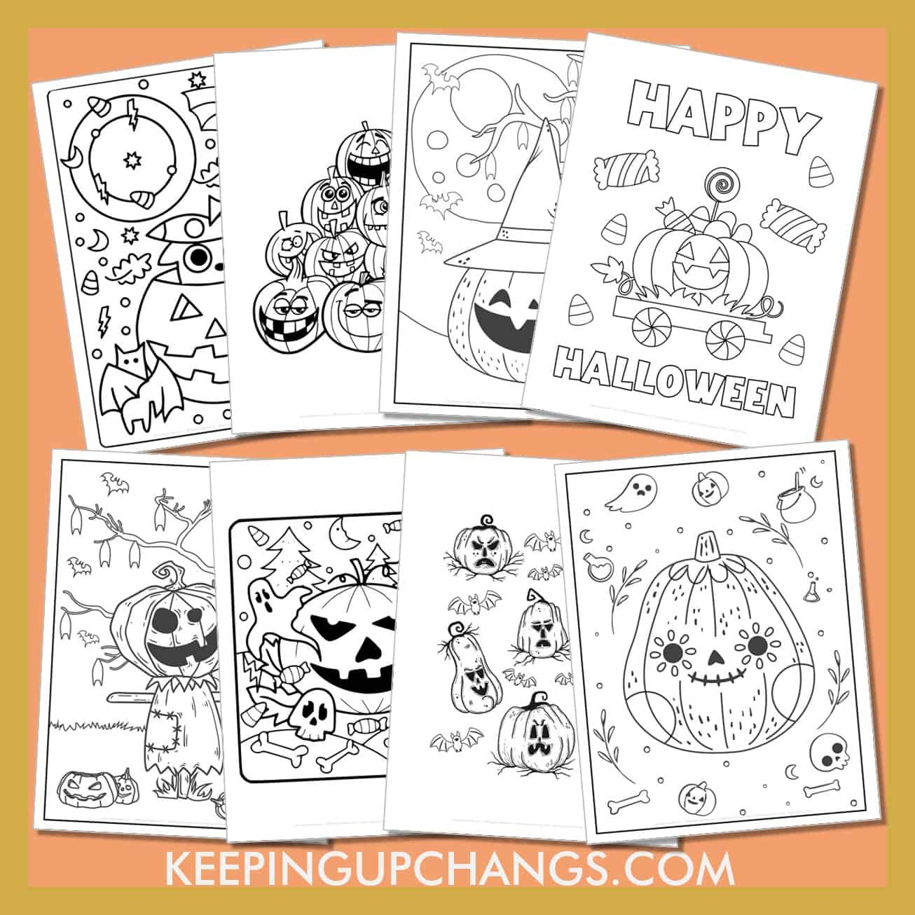 halloween pumpkin colouring sheets including jack o lanterns, candy, scarecrows, sugar skulls and more.
